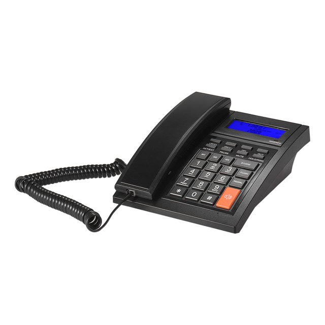 Corded Phone Desktop Fixed Landline Telephone with Adjustable LCD Display Mute/ Pause/ Hold/ Flash/ Redial/ Hands Free Functions