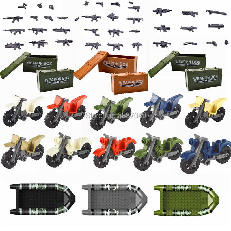 Legoing Military SWAT MOC Weapon Box Motorcycle Boat Building Blocks Toys For Children Compatible with Legoing Guns WW2