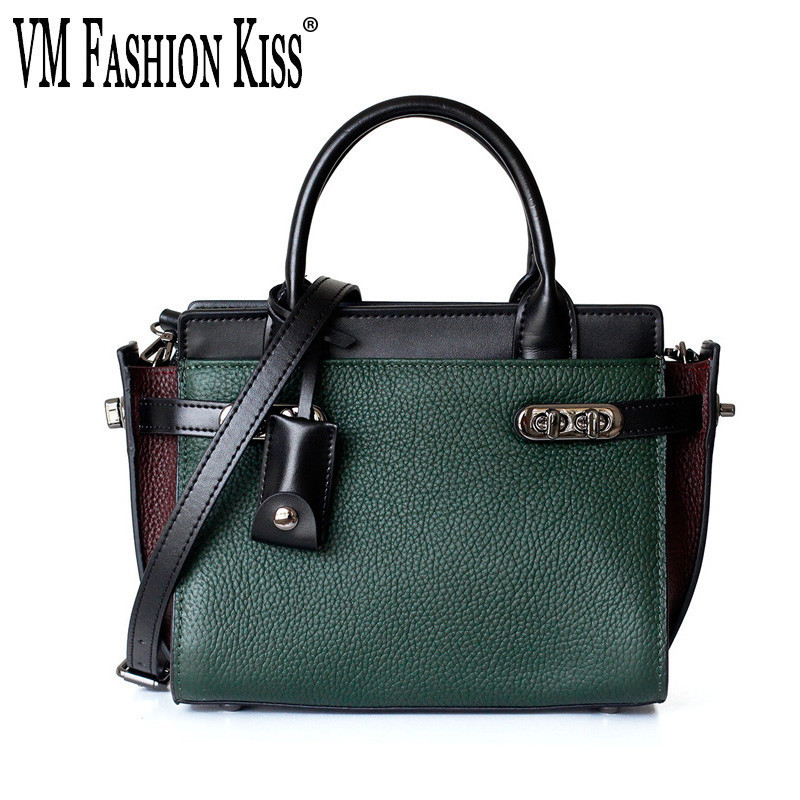 VM FASHION KISS Genuine Leather Trapeze Hand Handle Bags For Women Handbags High Quality Luxury Designer Small Shoulder Bag [hely coptar] genuine grain leather designer fashion trapeze style top handle women bag khaki high quality luxury designer real