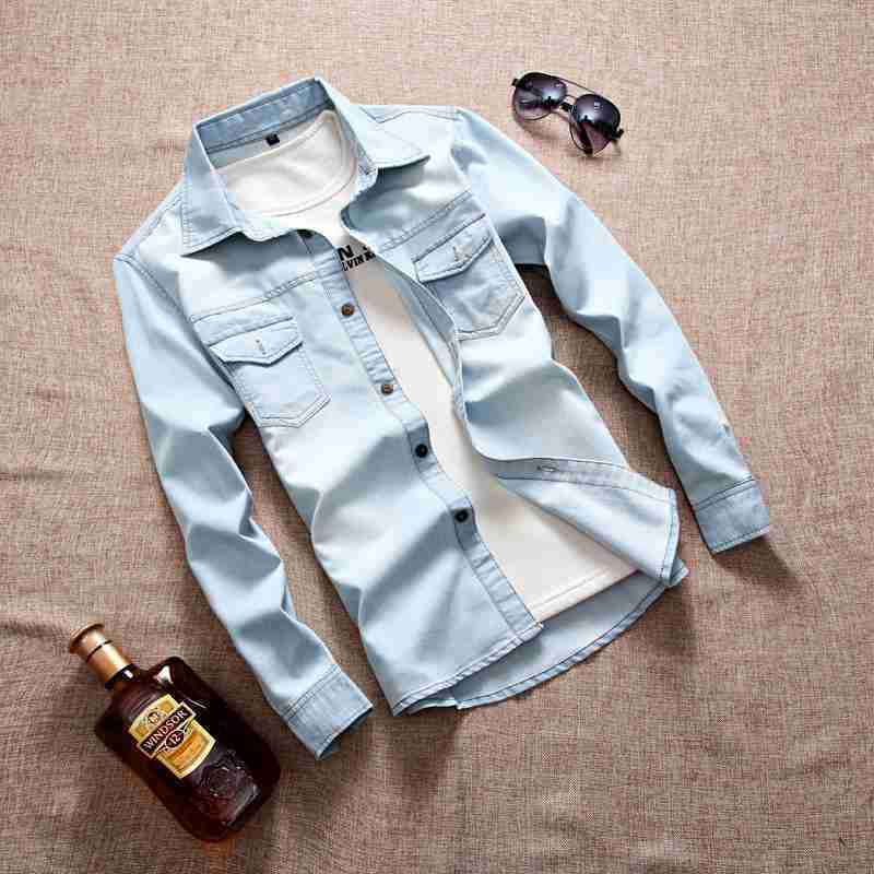 #4706 Primavera A Maniche Lunghe Camicie In Denim Degli Uomini Di Modo Slim Fit Camisa Masculina Casual Dei Jeans Del Cotone Camice Del Mens Chemise Homme Una Gamma Completa Di Specifiche