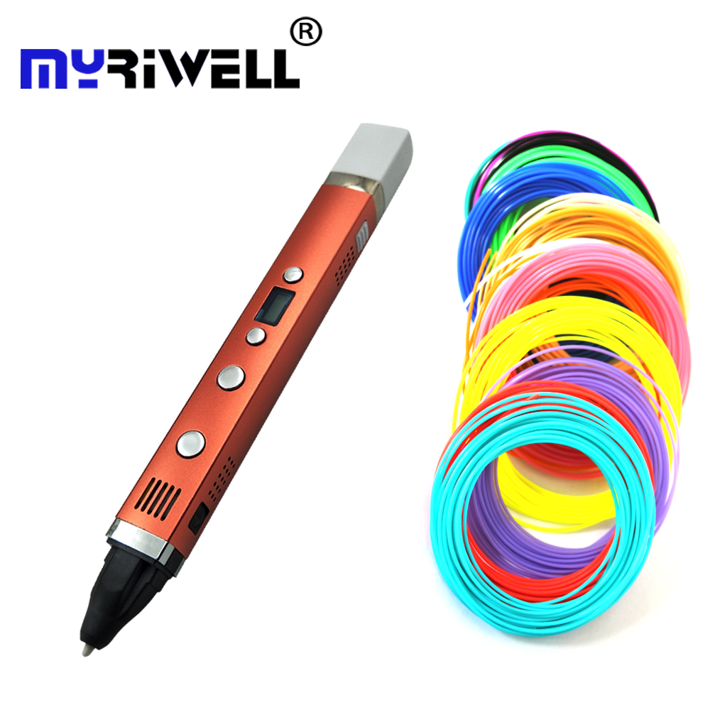 Myriwell 3rd 3D Drawing Pen USB Plug Creative Pen 3D graffiti pen Digital 4 speed regulation Best Gift For Kids 3d printing pen