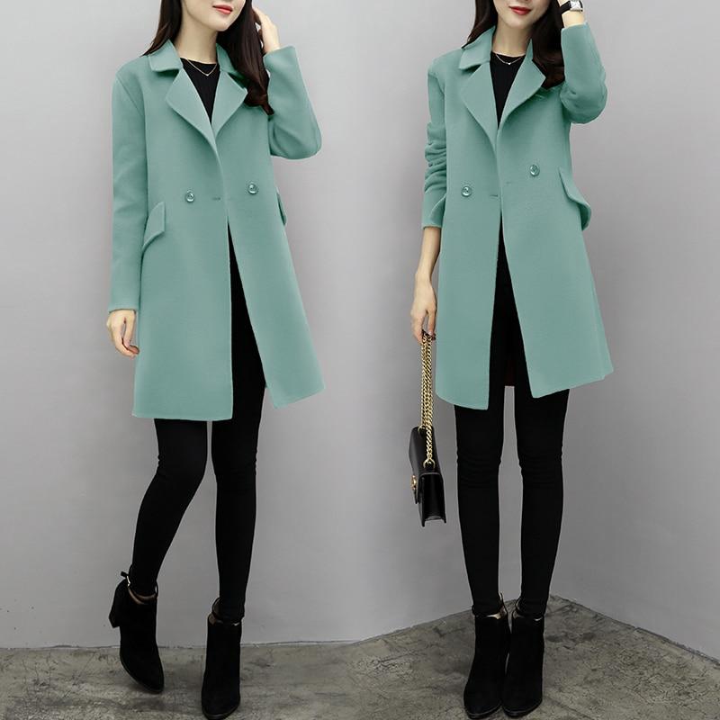 pink Pardessus De Longues Coréenne Manteau Tweed Robe pea Femmes La Top Vêtements Caramel Tenues Plus Nouveau Mode Laine Manches Tissu Lady Dame D'hiver Taille green nxAqzwcSzP