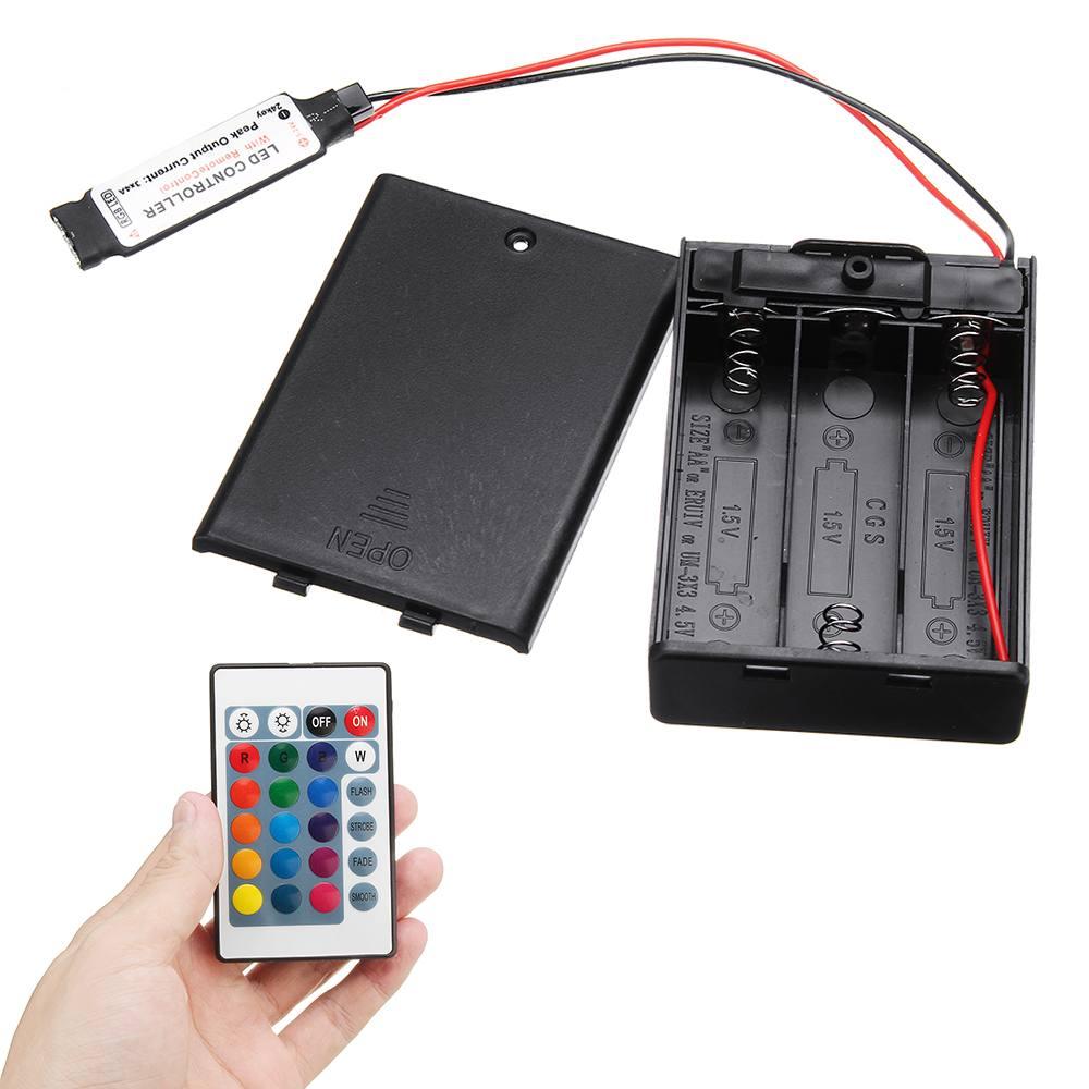 CLAITE DC4.5V Mini RF Controller Battery Box With 24 Keys Remote Control For RGB LED Strip