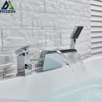 Powszechne wodospad bateria do wanny Deck Mounted wanna bateria zlewozmywakowa powszechne pojedynczy uchwyt z prysznicem recznym żuraw kranu tanie i dobre opinie rozin Współczesna MK310 Zimnej i Ciepłej Pojedynczy uchwyt podwójna kontrola ceramic Galwaniczne Chrome Bath Shower Faucets Bathtub faucet