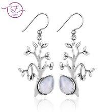 Womens 925 Sterling Silver Earrings 6x9MM Pear Shape Moonstone Life Tree Pendant Party Wholesale Wedding Dress