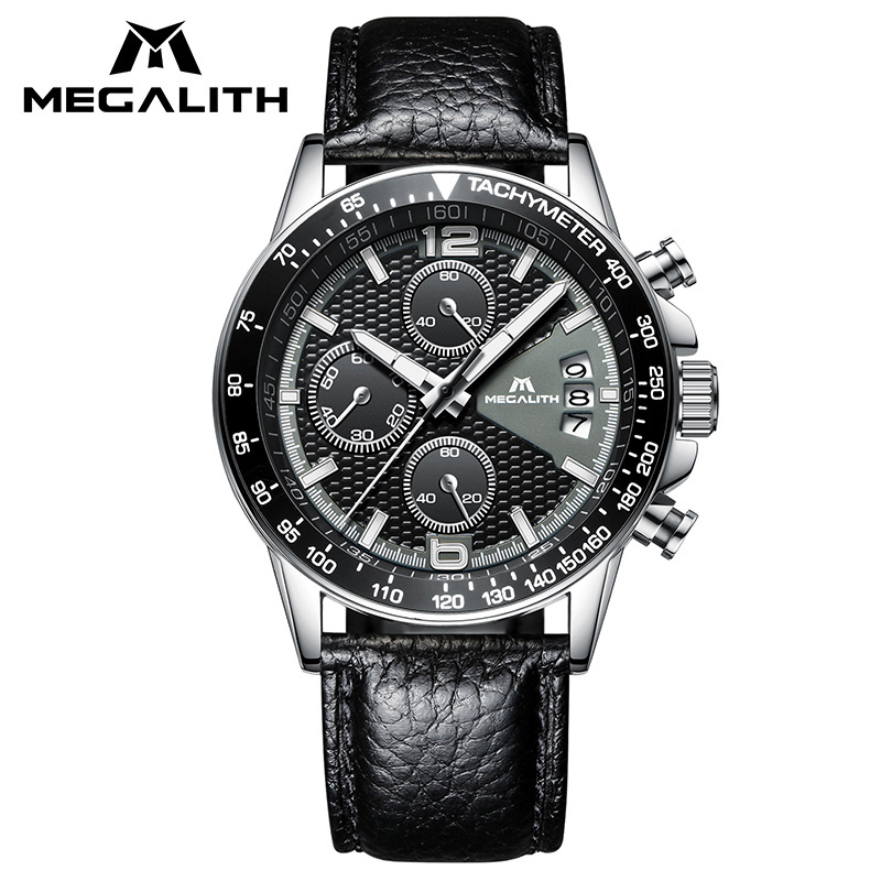 MEGALITH Casual Wrist Watches For Mens Waterproof Chronograph Date Calendar Quartz Watches Fashion Black Genuine Leather Watch