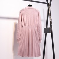 2019 New Women Pink Bow Tie Collar Sweater Dresses Xxxl Mini Knitted Dress V Neck Pullover Pleated Dress Vestidos