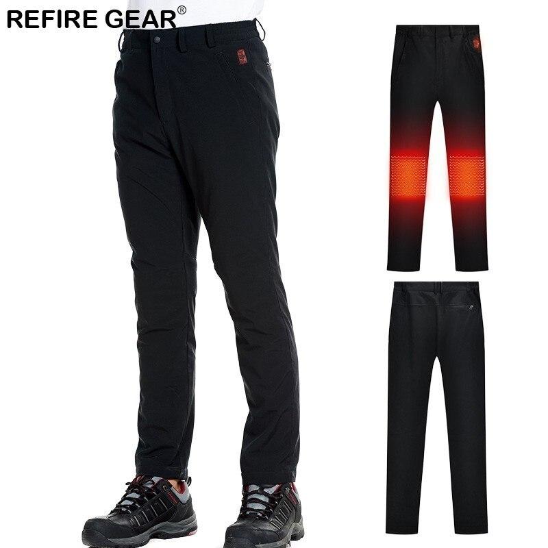 Refire Gear 2018 hiver extérieur Softshell pantalon hommes USB chauffé thermique ski randonnée pantalon imperméable pêche chasse pantalon