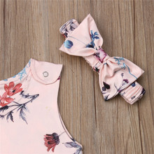Baby Girls Clothes Floral Print Romper + Bow Outfits Set
