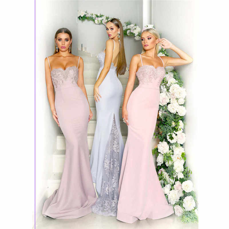 07e4530d16 Detail Feedback Questions about Women s Formal Prom Sleeveless Sling Dress  Female Pink Evening Party Long Maxi Dresses Chiffon Ball Gown Lace Dress  Vestidos ...