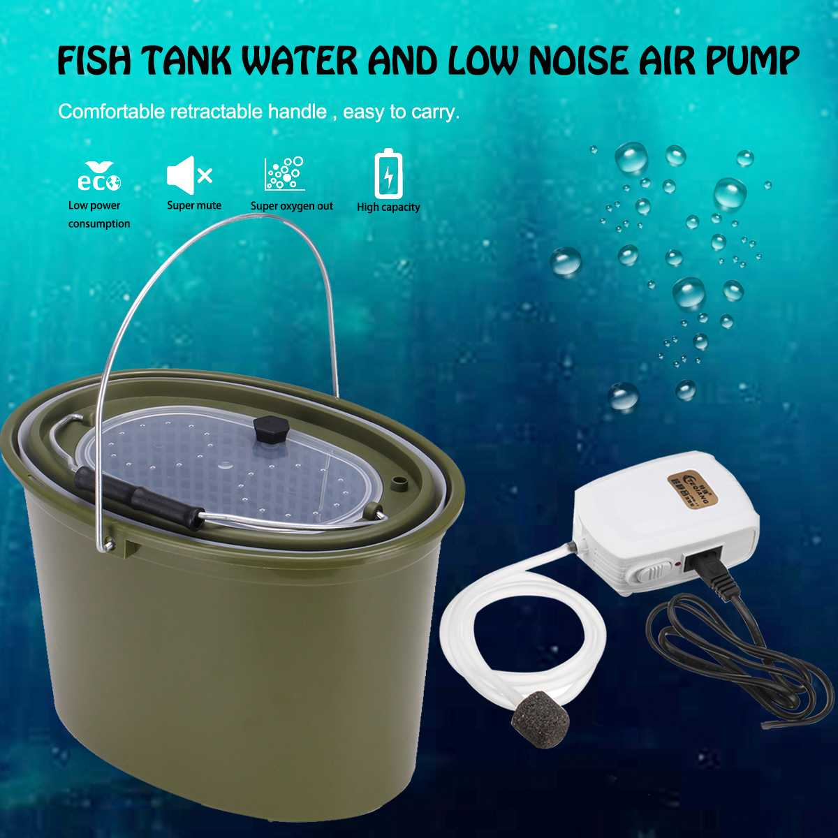 Outdoor Portable Fishing Bucket With Outlet Air Pump Oxygen Pump Bait Folding Water Container Fish Holder Fishing Tackle Boxes