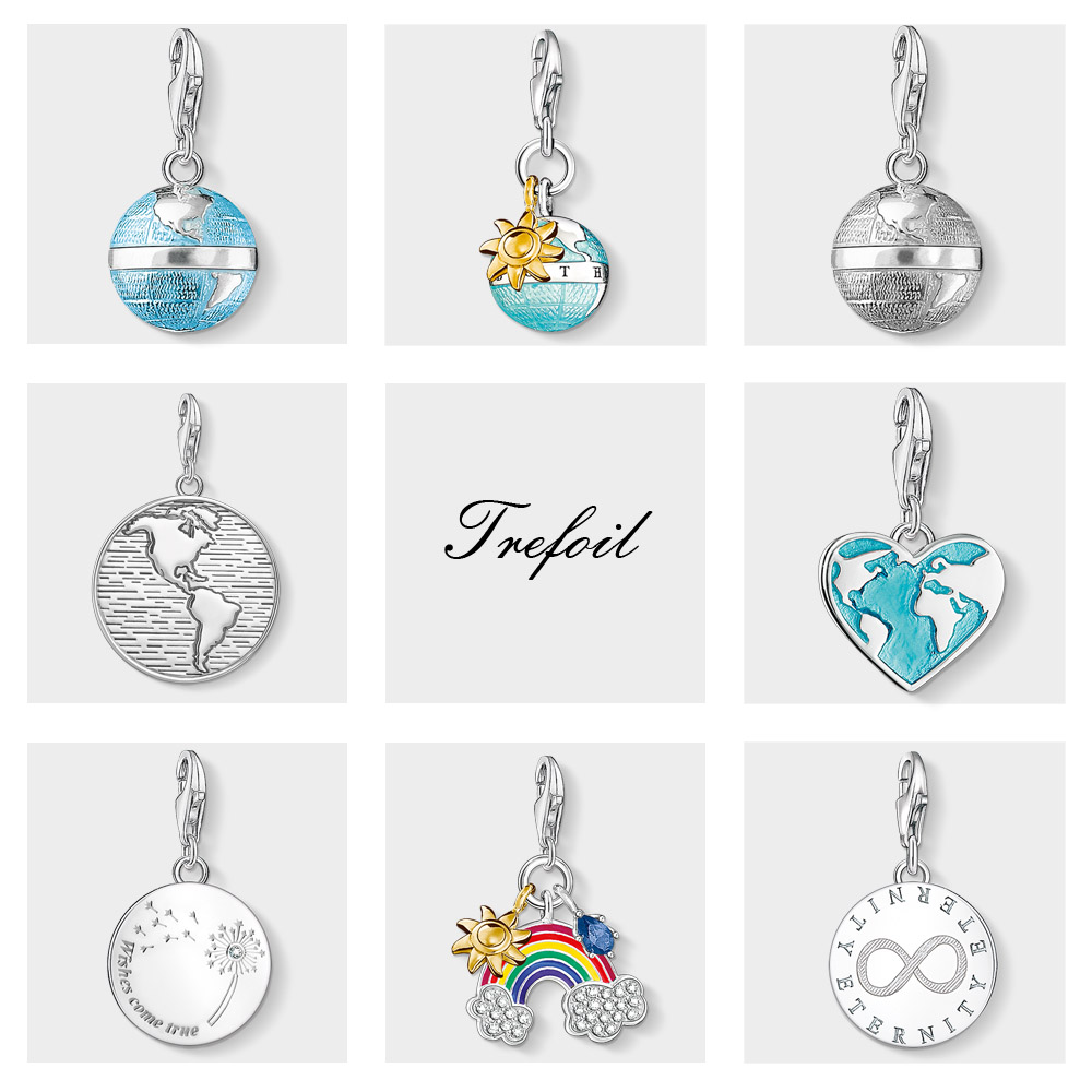 Blue Globe Wishes Come True Charms Pendant,Fashion Jewelry 925 Sterling Silver Classic Gift For Women Men Fit Bracelet Necklace