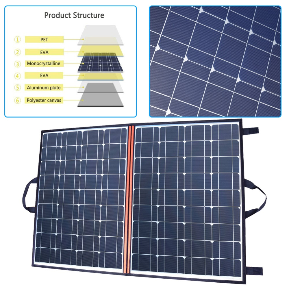 120W 2 PCS 60W Watt Foldable Black Solar Panel Charger China Mono Cell PV Module 10A Controller Solar Blanket Charging in Solar Cells from Consumer Electronics