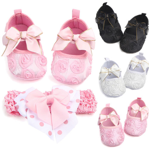 Newest Toddler Girl Crib Shoes Newborn Bow Baby Bowknot Soft Sole Prewalker Sneakers First Walkers