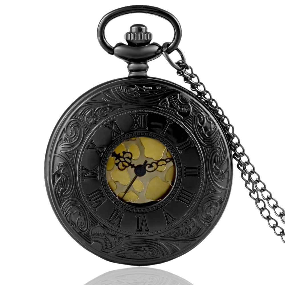 IBEINA Vintage Design Steampunk Pocket Watch Quartz Pendant Necklace Men's Retro Gift