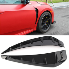 Car Shark Grille Air Flow Side Vent Exterior Grill Decoration For Honda Civic 2016 2017 2018 Glossy Black ABS Plastic