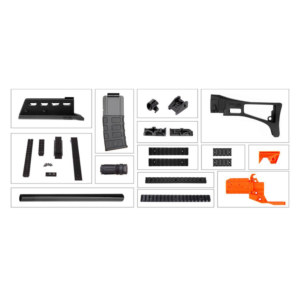 Worker STF-W016-A G36 Style Mod Kits Set With Orange Adaptor And Long Front Tube for Nerf N-Strike Elite Stryfe BlasterWorker STF-W016-A G36 Style Mod Kits Set With Orange Adaptor And Long Front Tube for Nerf N-Strike Elite Stryfe Blaster