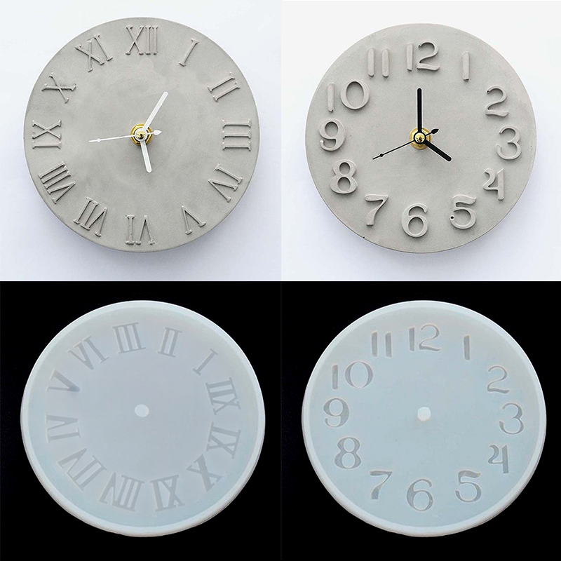 Clock Silicone Crystal Mold Clock Craft Making Mould Round Dia 14.7cm Molds