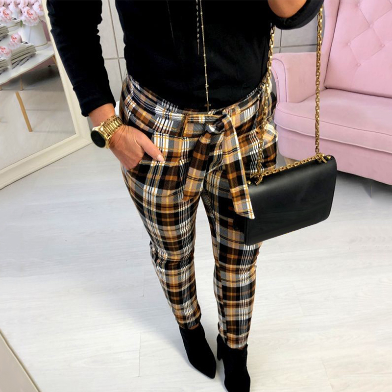 New Women Fashion Plaid Printed Slim Pencil Pants Trousers Britches With Belt