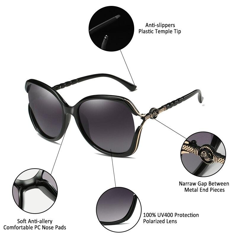Tidien Retro Oversized Square Women Polarized Sunglasses Brand Designer Luxury Oversized Diamond Elegant Ladies Sun Glasses 5101