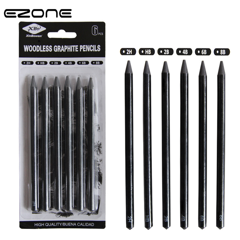 EZONE 6PCS Sketch Pens 2B/4B/6B/8B/2H/HB Woodless Charcoal Pencil For Sketching Drawing Art Students Painting Pencil Stationery