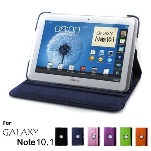 Magnet for <font><b>Samsung</b></font> Galaxy Note 10.1 2012 <font><b>GT</b></font>-N8000 N8000 N8010 N8020 Tablet Case 360 Rotating Bracket Flip Stand Leather Cover image
