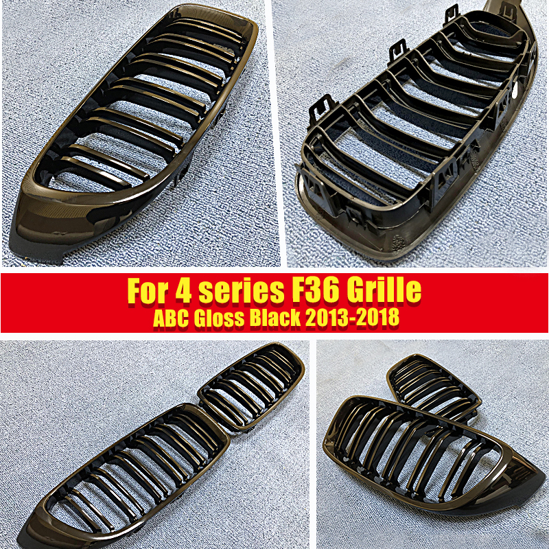 F36 M Style Grille ABS Gloss Black 1 Pair For F36 4 door Hard Top 420i 428i 430i 435i 440i 2 Slats Front Kidney Grille 2013 2018 in Racing Grills from Automobiles Motorcycles
