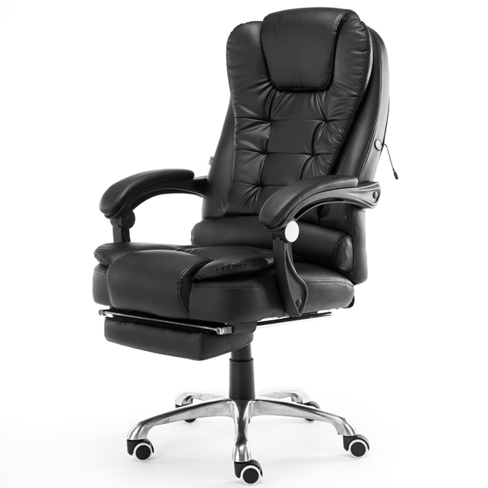 Home Office Computer Desk Boss Massage Chair With Footrest Armrest PU Leather Adjustable Reclining Gaming Chair-in Office Chairs from Furniture