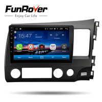 FUNROVER Android8.0 car DVD 2 din multimedia GPS For honda CIVIC 2006 2011 Right hand driving RHD Civic stereo Navigation radio
