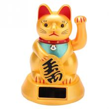 Solar Powered Lucky Cat Wealth Waving Cat Gold Waving Hand Feng-Shui Lucky Maneki Neko Cute Home Decor Welcome Waving Cat