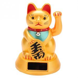 Solar Powered Lucky Cat Wealth Waving Cat Gold Waving Hand Feng-Shui Lucky Maneki Neko Cute Home Decor Welcome Waving Cat