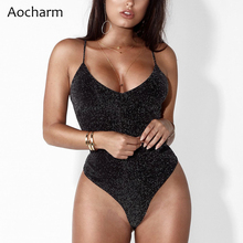 Aocharm Bodysuit Summer Sexy Black V Neck Sleeveless Bodysuits for Women Snap Crotch Romper