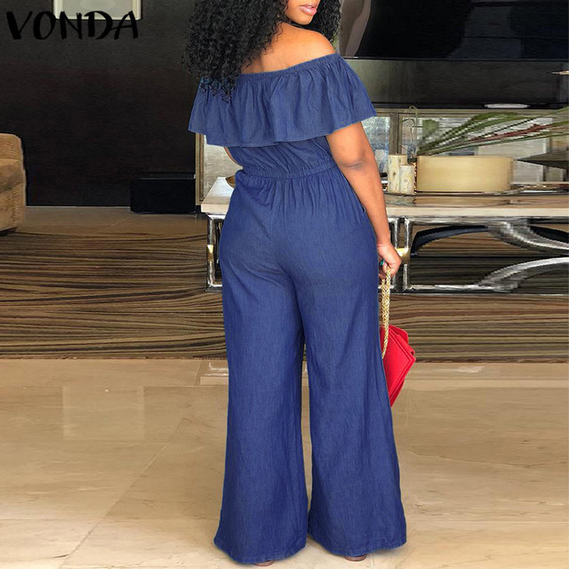 VONDA Women Rompers Jumpsuit 2018 Summer Overalls Casual Slash Neck Off Shoulder Ruffles Denim Playsuits Plus Size Wide Leg Pant 2
