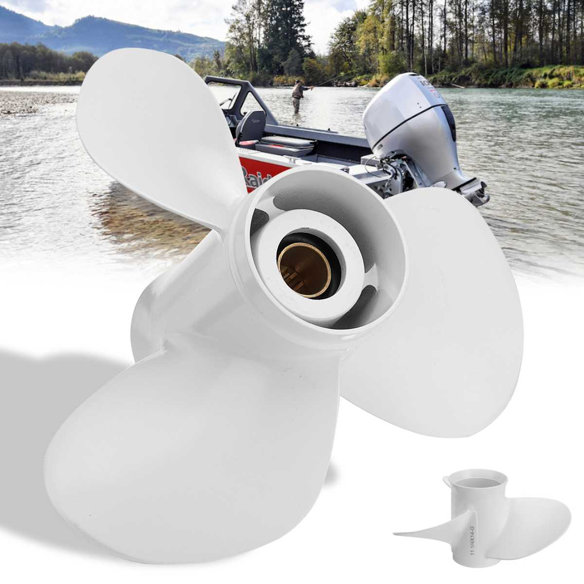 663-45958-01-EL 11 1/4 X 14 Aluminum Boat Outboard Propeller For Yamaha 25-60HP 3 Blades 13 Spline Tooth White R Rotation