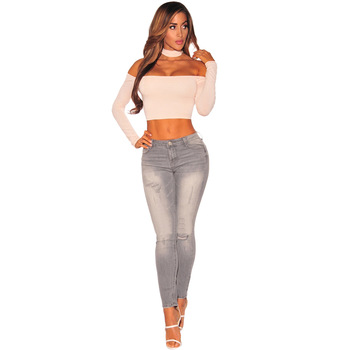 2019 Women Jeans Skinny Slim High Waist Hole Ripped Jeans Women Basic Casual Street Style Pencil Pants Plus Size coyote valley 2017 hot style fine elastic jeans women s cotton hole in pencil and feet high quality jeans high waist jeans