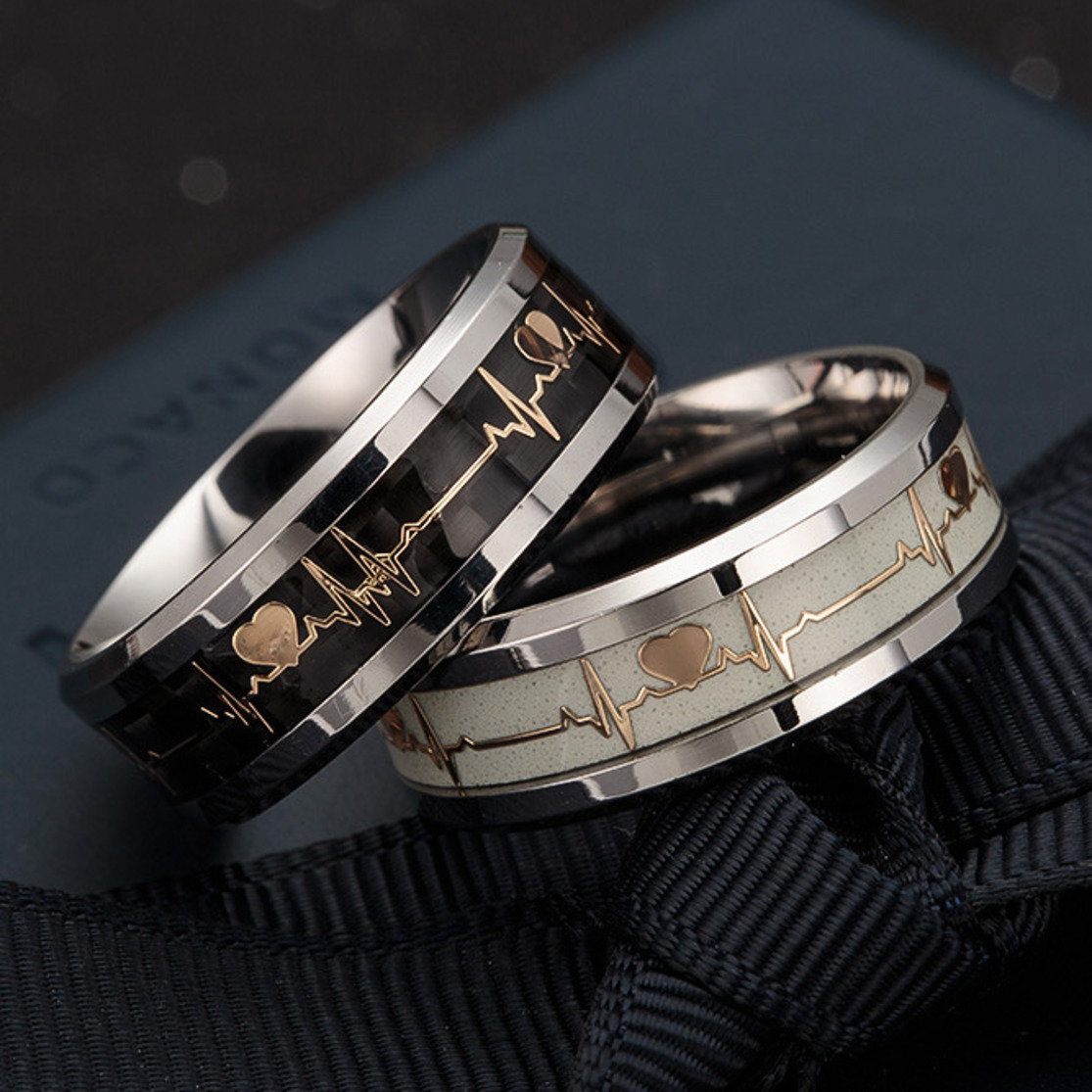 Кольцо из нержавеющей стали унисекс, черное светящееся кольцо «сердцебиение», светящееся, размер 6-13