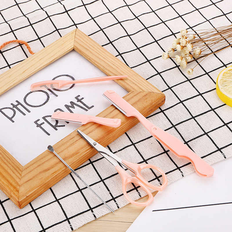 5 قطعة/مجموعة الوردي الفولاذ المقاوم للصدأ أداة الشفاه الشعر الحاجب الحلاقة المتقلب شفرة ماكينة حلاقة سكين المرأة ماكياج أدوات تجميل الوجه