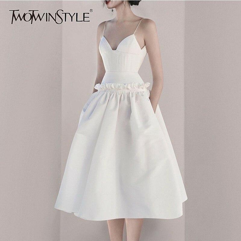 TWOTWINSTYLE V Neck Ruffles Sexy Women Dress Sling High Waist Off Shoulder Backless Dresses Female Summer