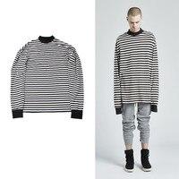 2018 T Shirt Men Long Sleeve Black White Striped T shirt Men Women Unisex Loose Oversize Extra Long Sleeve Couple T Shirt