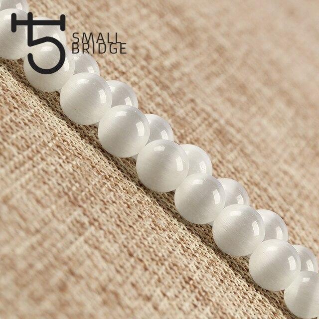 6 8 10 MM en vrac naturel oeil de chat pierre perles Bracelet à bricoler soi-même collier accessoires lisse ronde opale perle en gros S402