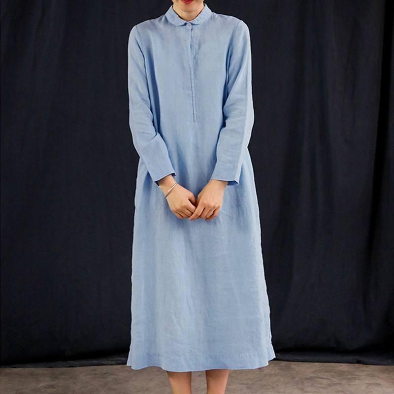 c6b4024787a Celmia Women Vintage Long Maxi Dress Casual Lapel Long Shirt Dresses Autumn  Buttons Cotton Linen Vestidos
