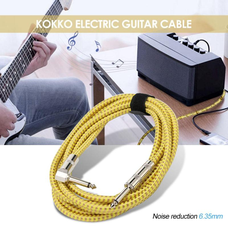 Electronic Guitar Cable Guitar Bass Line Connecting Line Noise Reduction 6.35mm Musical Instrument Yellow image