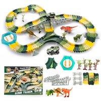 192Pcs Plastic Dinosaur Toys DIY Race Car Track Model Building Kits Educational Toys for Children 602 Type