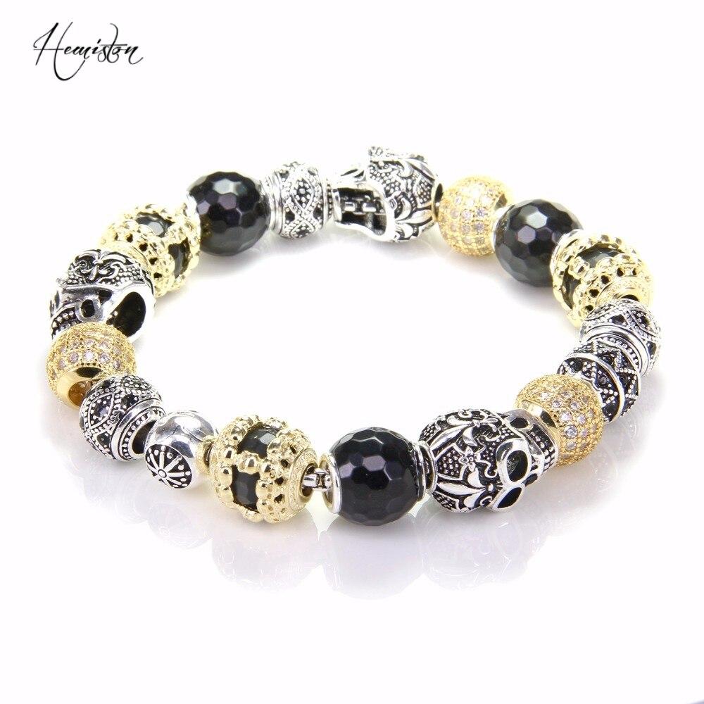 Thomas Bracelet de perles de couleur or avec des perles de noeud d'amour de crâne, bijoux de Bracelet de coeur rebelle pour les femmes et les hommes TS B600