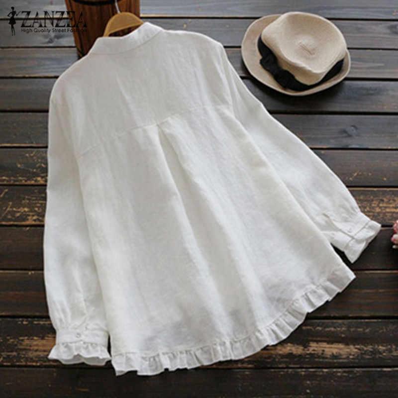 ZANZEA 2019 Elegant Work OL Tops Spring Fashion Ruffled Loose Shirts Women Casual Solid Lapel Long Sleeve Cotton Linen Blouse