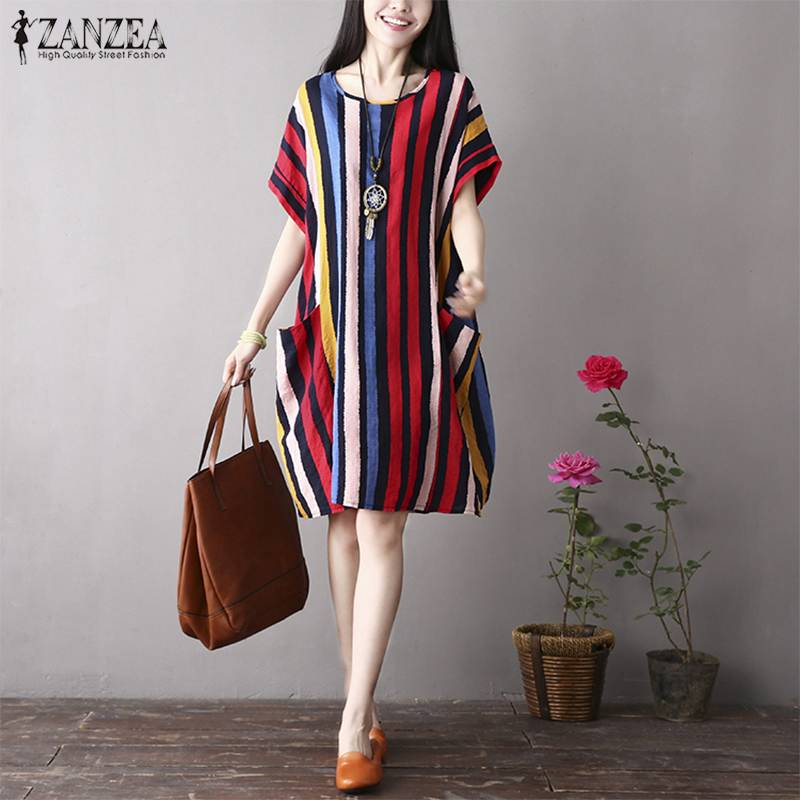 ZANZEA Summer Women O Neck Short Sleeve Casual Striped Dress Femininas Vestido Female Robe Loose Party Sundress Baggy Top Tunic