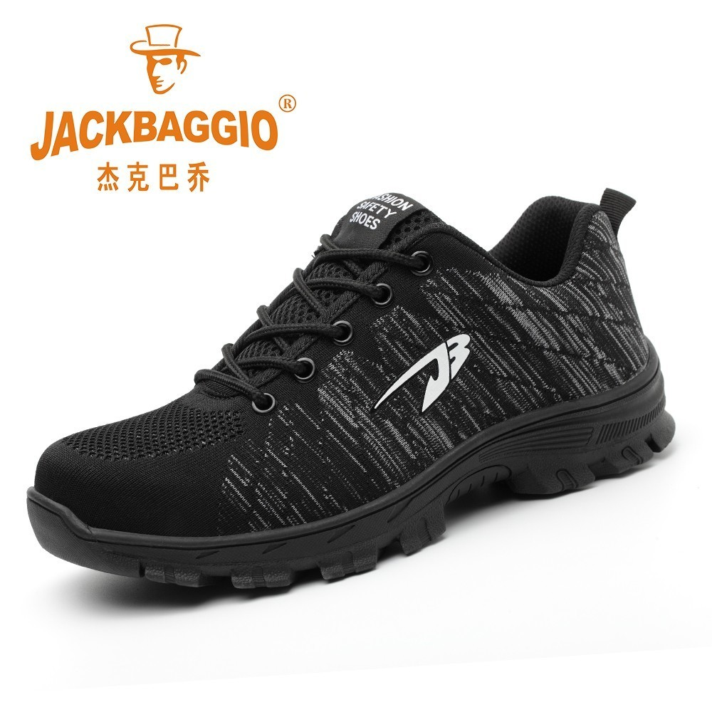 Men Women Safety Shoes Steel Toe Work Shoes Lightweight Breathable Sneaker Casual Foot Wear Black Men Safety Boots Rubber Sole image