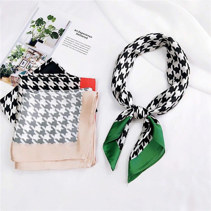 70*70cm New Classic Houndstooth Scarf For Women Head Bandage Silk-like Sjaal Female Bag Decoration Bandana Female Handkerchief