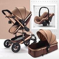 3 em 1 Com Assento de Carro Carrinho de Bebê De luxo Alta Paisagem Carrinho de Sistema de Viagem carrinho de Bebê Dobrável Carrinhos Para Recém-nascidos walker