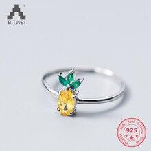 טהור 925 כסף סטרלינג אירופאי אמריקאי חדש עיצוב תמציתי יפה אננס פירות פתוח טבעת תכשיטים